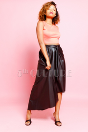 Faux Leather Front Bow High Low Knee Length  Skirt