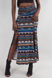 Tribal Print Double Slit Maxi Skirt