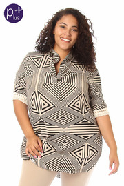 Plus Size Ethnic Print Blouse