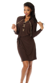 Solid Waist Tie Long Sleeve Dress