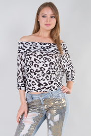 Animal Print Cowl Neck Top