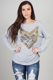 Sequin Chevron Long Sleeve Top