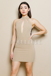 Mesh Back Cut Out Solid Bodycon Mini Dress