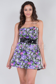 Floral Strapless Bubble Dress