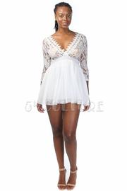 Laced V-neck Flare Dress