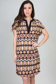 Watercolor Boho Print Tunic Dress