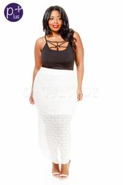 Plus Size Double Slit Lacey Maxi Skirt