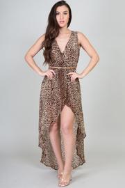 High Low Leopard Print V-Neck Dress w/ Waist Belt
