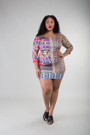 Plus Size Medusa Chain Leopard Mix Print Bodycon Dress