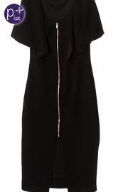 Plus Size Oversized Collar Front Zipper Midi Dress