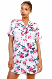 Rose Print Button Up Chiffon Short Sleeve Blouse
