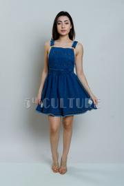 Ripped Denim Overall Dress