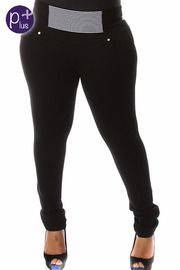 Plus Size Front Band Solid Pants