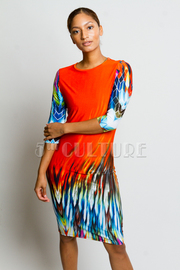 Abstract Print Midi Dress