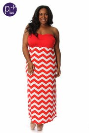 Plus Size Chevron Striped Maxi Dress