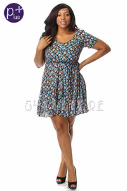 Plus Size Spring Flower Short Sleeve Flowy Dress