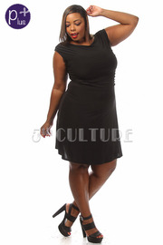 Plus Size Solid A-Line Dress