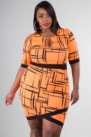 Plus Size Sexy Line Print Tulip Dress