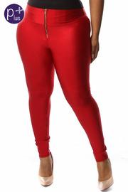 Plus Size Solid Front Zipper Nylon Leggings