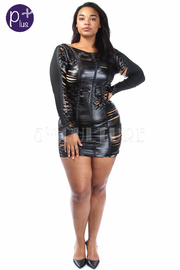 Plus Size front Faux Leather Slit Bodycon Dress