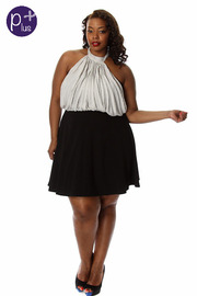 Plus Size Polka Dot Print Halter Skater Dress