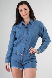 Denim Long Sleeve Romper