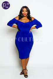 Plus Size Off The Shoulder Solid Fitted Midi Dress