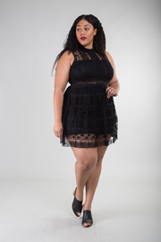Lace Crochet Layover Sleeveless A-Line Dress