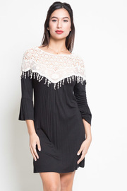 Lace Crochet Detailed Bell Sleeve Tunic Dress