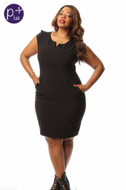 Plus Size Solid Cap Sleeve Knee Length Dress