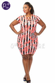 Plus Size Striped Baroque Print Bodycon Dress