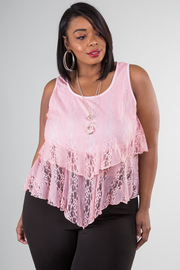 Plus Size Tear Drop Tiered Lace Top