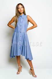 Sleeveless Button Up Knee Length A-Line Dress