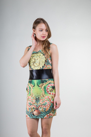 Lioness Animal Print Faux Leather Inset Scuba Mini Dress