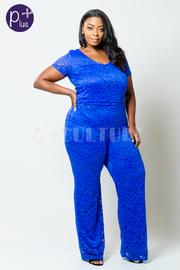 Plus Size Full Lace Keyhole Jump Suit