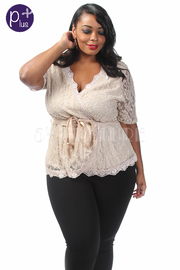 Plus Size Full Lace Waist Band Top