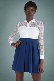 Pleated Long Sleeve Laced A-Line Dress