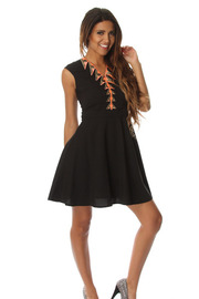 Embroidered Sleeveless Solid Skater Dress