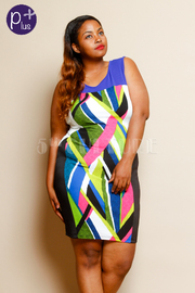 Plus Size Color Weaved Sublimation Sleeveless Fitted Dress
