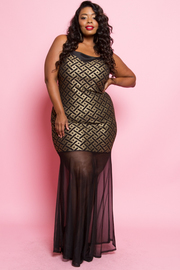 Metallic Weave Print Sheer Inset Maxi Dress