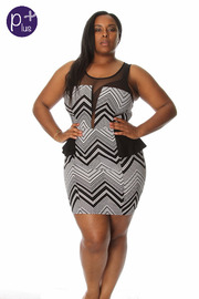 Plus Size Zig Zag Peplum Bodycon Dress