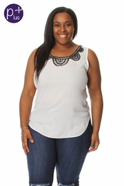 Plus Size Crochet Detail Sleeveless Solid Top