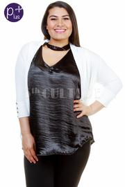 Plus Size Button Sleeveless Detail Cardigan
