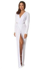 Long Sleeve Slit Twist Maxi Dress