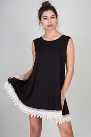 Solid Sleeveles Crochet Tunic Dress