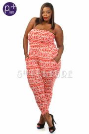 Plus Size Ikat Print Strapless Jumpsuit