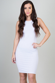 Solid Zipper Back Midi Dress