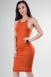 Ribbed Knit Sleeveless Midi Dress