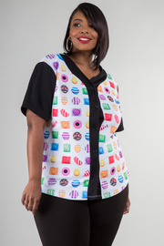 Plus Size Candy Crush Short Sleeve Button Up Top