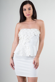 Strapless Gills Cut Out Peplum Solid Mini Dress